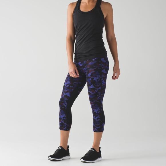 Lululemon Pace Rival Crop Purple Camo Leggings